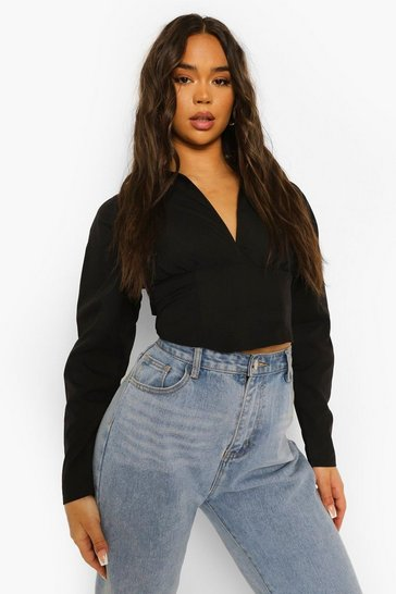 Black Open Back Ruched Sleeve Shirt