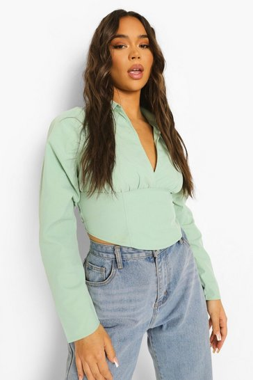 Sage green Green Open Back Ruched Sleeve Shirt