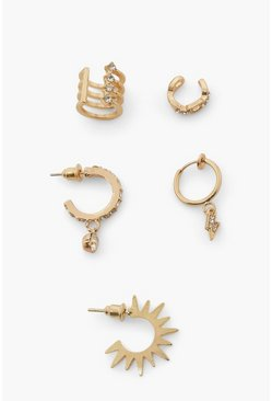 Gold metallic Earring Pack With Cuff