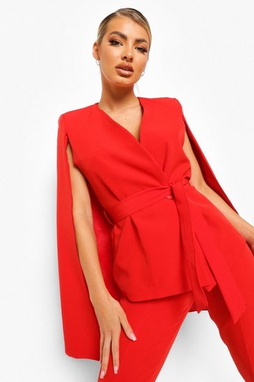Red Split Sleeve Wrap Front Blazer