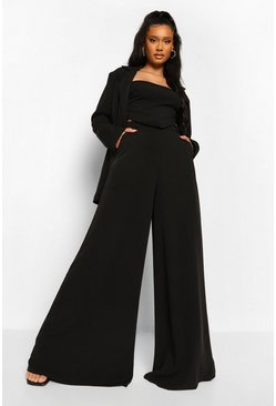 Black Super Wide Leg Tailored Trousers