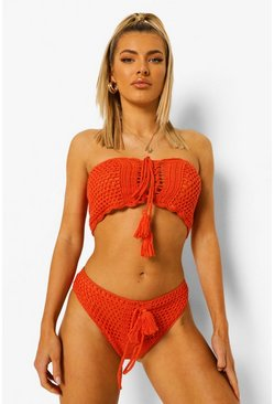 Orange Crochet Lace Up High Waist Bikini Brief