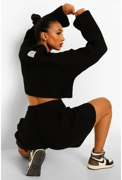 Black Ofcl Zip Jumper And Shorts Knitted Co-ord