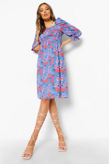 Red Floral Shirred Puff Sleeve Midi Dress