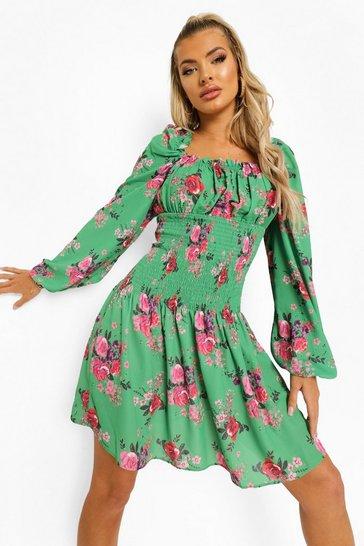 Green Floral Shirred Long Sleeve Skater Dress