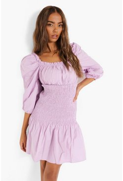 Lilac purple Cotton Shirred Square Neck Drop Waist Dress