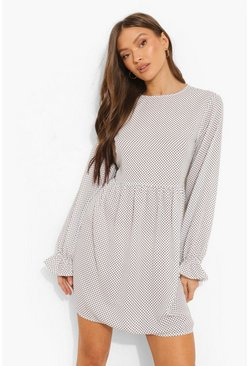 White Polka Dot Frill Cuff Smock Dress