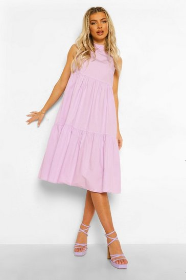 Lilac purple Cotton High Neck Tiered Midi Dress