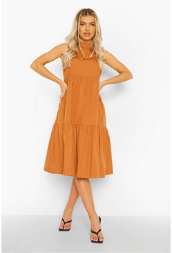 Tan brown Cotton High Neck Tiered Midi Dress