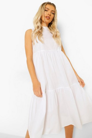 White Cotton High Neck Tiered Midi Dress