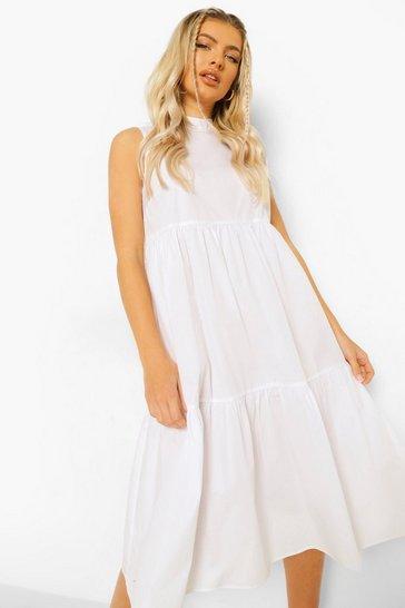 White Cotton High Neck Tiered Midi Dress