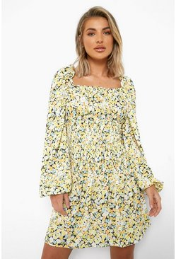 Yellow Floral Shirred Long Sleeve Skater Dress
