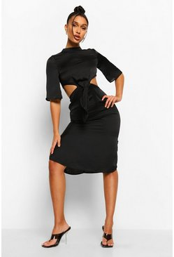 Black High Neck Cut Out Tie Front Midi Dress