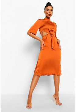 Rust orange High Neck Cut Out Tie Front Midi Dress