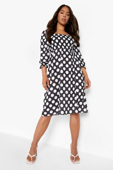 Black Polka Dot Shirred Puff Sleeve Midi Dress