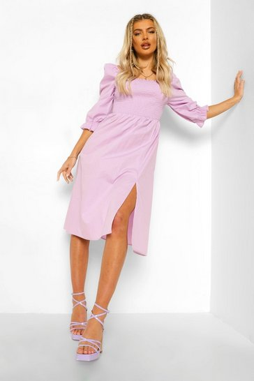 Lilac purple Cotton Shirred Puff Sleeve Midi Dress