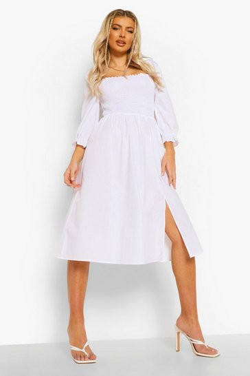 White Cotton Shirred Puff Sleeve Midi Dress