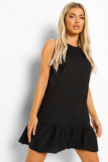 Black Cotton Frill Hem Shift Dress