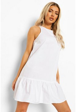 White Cotton Frill Hem Shift Dress