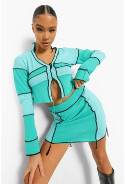 Green Exposed Seam Rib Knit Co-ord
