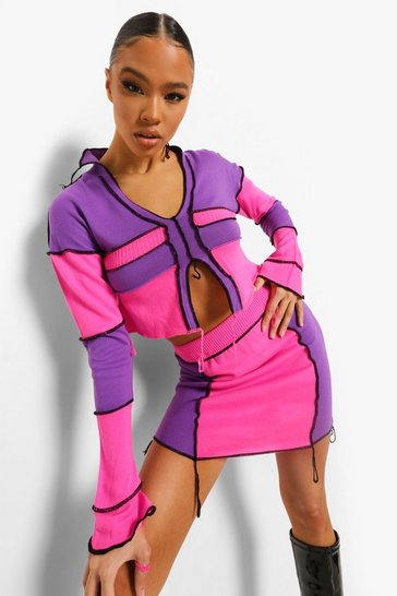 Pink Exposed Seam Rib Knit Co-ord