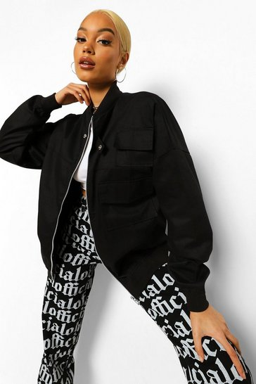Black Oversized Utility Bomber Jacket