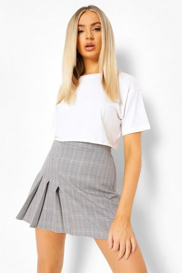 Grey Check Side Pleated Woven Tennis Skirt