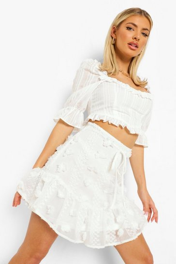 White Textured Lace Frill Hem Skater Skirt