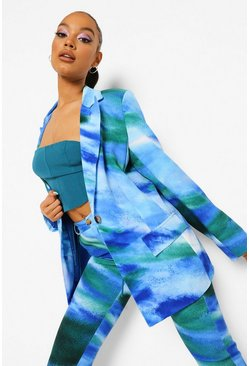 Cobalt blue Tie Dye Fitted Blazer