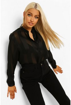Black Satin Strip Shirt