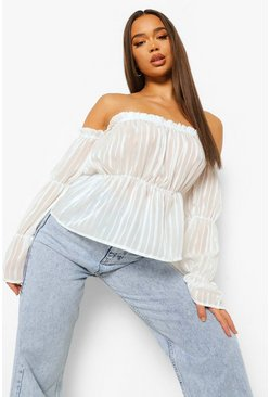 Ivory white Satin Stripe Off The Shoulder Top