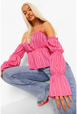 Pink Satin Stripe Off The Shoulder Top