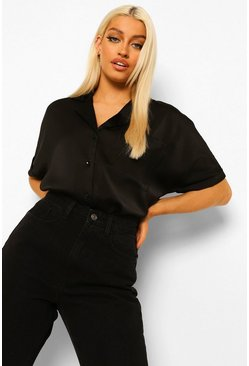 Black Satin Revere Collar Short Sleeve Shirt