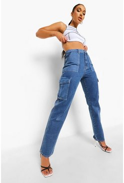 Mid blue blue Utility Pocket Contrast Straight Leg Jeans