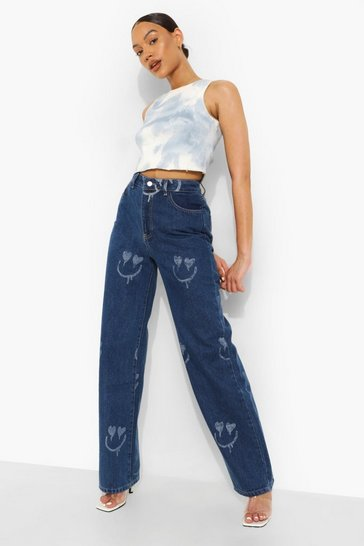 Mid blue blue All Over Face Print Boyfriend Jeans