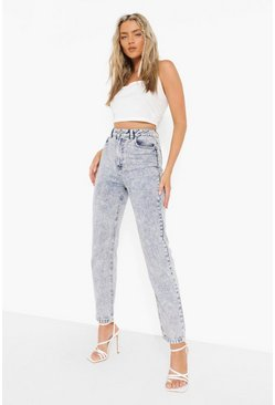 High Waist Straight Jeans With Bleach Wash