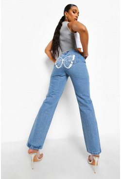 Mid blue blue Straight Leg Jeans With Butterfly Back Print