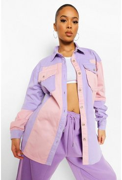Bright lilac purple Patchwork Denim Overshirt