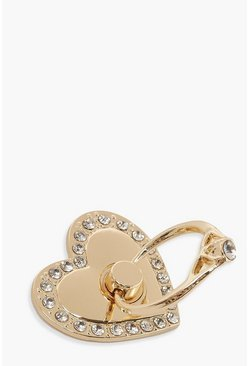 Gold Iphone Heart Diamante Ring