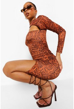 Brown Snake Cut Out Slinky Midi Dress