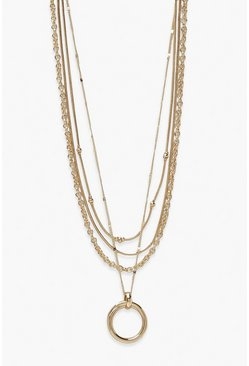 Large Disc Chunky Layered Necklace , Gold metallizzato