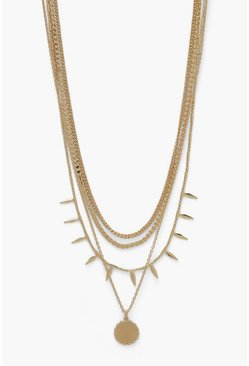Gold metallic Spike Dropped Coin Pendant Layered Necklace