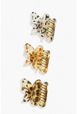 Butterfly Mini Claw Clip, Leopard Pint 3 Pack, Brown marrón