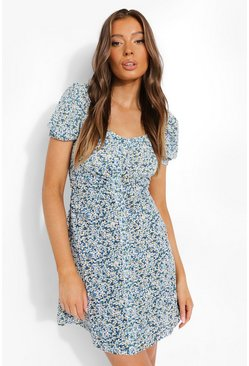 Blue Puff Sleeve Floral Mini Dress