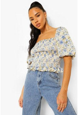 Blue Floral Print Shirred Puff Sleeve Top
