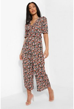 Black Floral Print Belted Jumpsuit