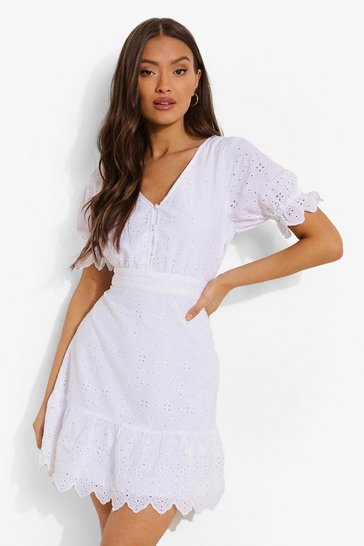 White Broiderie V Neck Frill Hem Dress