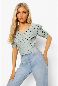 Mint green Polka Dot Button Detail Corp Top