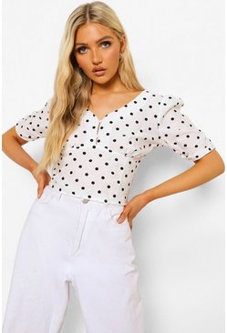 White Polka Dot Button Detail Corp Top