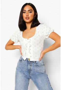 White Broiderie Lace Up Crop Top